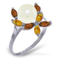 ALARRI 2.63 Carat 14K Solid White Gold Ring Natural Garnet, Citrine Pearl