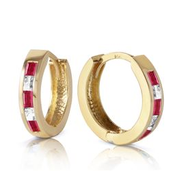 ALARRI 1.26 Carat 14K Solid Gold Hoop Earrings Natural Ruby White Topaz
