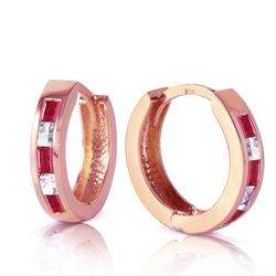 ALARRI 1.26 CTW 14K Solid Rose Gold Hoop Earrings Natural Ruby Rose Topaz