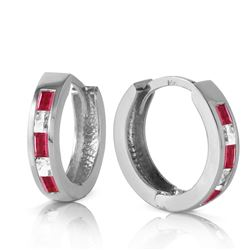 ALARRI 1.26 Carat 14K Solid White Gold Hoop Earrings Natural Ruby White Topaz