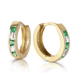 ALARRI 1.26 CTW 14K Solid Gold Hoop Earrings Natural Emerald White Topaz