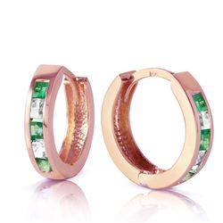 ALARRI 1.26 Carat 14K Solid Rose Gold Hoop Earrings Natural Emerald Rose Topaz