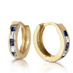 ALARRI 1.26 Carat 14K Solid Gold Hoop Earrings Natural Sapphire White To