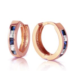 ALARRI 1.26 Carat 14K Solid Rose Gold Hoop Earrings Natural Sapphire Rose Topaz