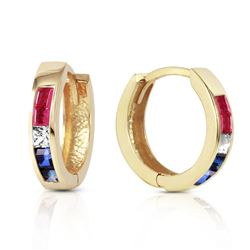 ALARRI 1.28 Carat 14K Solid Gold Hoop Earrings Natural Multi Gemstones