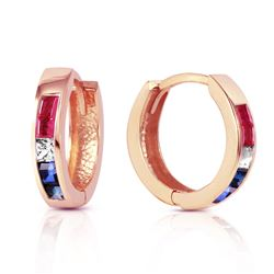ALARRI 1.28 CTW 14K Solid Rose Gold Hoop Earrings Natural Multi Gemstones