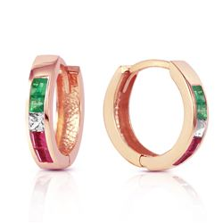 ALARRI 1.28 Carat 14K Solid Rose Gold Tri Gem Round Hoop Earrings
