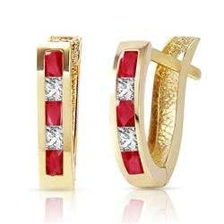 ALARRI 1.26 CTW 14K Solid Gold Gia Ruby White Topaz Earrings