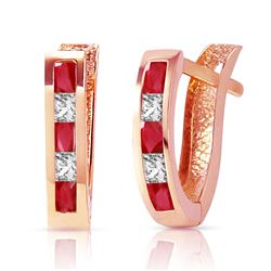 ALARRI 1.26 Carat 14K Solid Rose Gold Ruby White Topaz Hoop Earrings