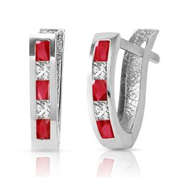 ALARRI 1.26 Carat 14K Solid White Gold Consumate Delight Ruby White Topaz Earrings