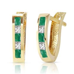 ALARRI 1.26 Carat 14K Solid Gold Italia Emerald Whote Topaz Earrings