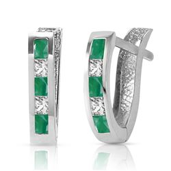 ALARRI 1.26 Carat 14K Solid White Gold Inevitable You Emerald White Topaz Earrings