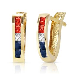 ALARRI 1.28 CTW 14K Solid Gold USA American Flag Multi Gemstones Earrings
