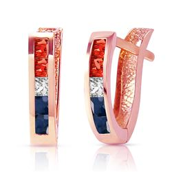 ALARRI 1.28 Carat 14K Solid Rose Gold Princess Tri Gem Hoop Earrings