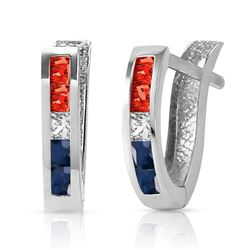 ALARRI 1.28 Carat 14K Solid White Gold USA American Flag Multi Gemstones Earrings