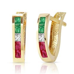 ALARRI 1.28 CTW 14K Solid Gold Roma Multi Gemstones Earrings