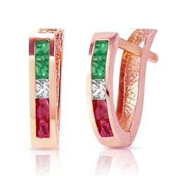 ALARRI 1.28 Carat 14K Solid Rose Gold Tri Gem Oval Hoop Earrings