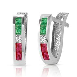 ALARRI 1.28 CTW 14K Solid White Gold Not Providential Multi Gemstones Earrings