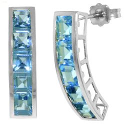 ALARRI 4.5 Carat 14K Solid White Gold Sea Of Love Blue Topaz Earrings