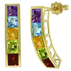 ALARRI 4.5 CTW 14K Solid Gold Earrings Natural Multi Gemstones