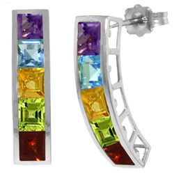 ALARRI 4.5 Carat 14K Solid White Gold Earrings Natural Multi Gemstones