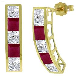 ALARRI 4.7 CTW 14K Solid Gold Earrings Natural White Topaz Ruby