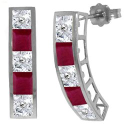 ALARRI 4.7 Carat 14K Solid White Gold Earrings Natural White Topaz Ruby