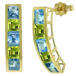 ALARRI 4.5 CTW 14K Solid Gold Earrings Natural Blue Topaz Peridot
