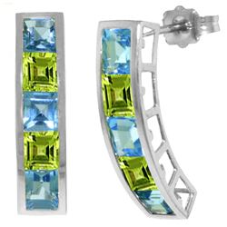 ALARRI 4.5 CTW 14K Solid White Gold Earrings Natural Blue Topaz Peridot