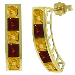 ALARRI 4.5 Carat 14K Solid Gold Earrings Natural Citrine Garnet