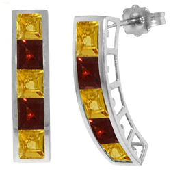 ALARRI 4.5 Carat 14K Solid White Gold Earrings Natural Citrine Garnet