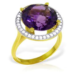 ALARRI 6.2 Carat 14K Solid Gold Ring Natural Diamond Amethyst