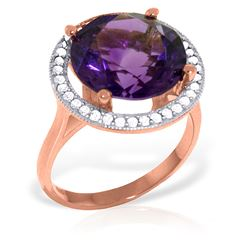 ALARRI 6.2 CTW 14K Solid Rose Gold Ring Natural Diamond Amethyst