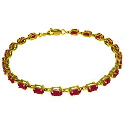 ALARRI 8 Carat 14K Solid Gold Tennis Bracelet Natural Ruby