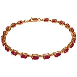 ALARRI 14K Solid Rose Gold Tennis Bracelet w/ Natural Rubies