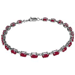 ALARRI 8 Carat 14K Solid White Gold Tennis Bracelet Natural Ruby
