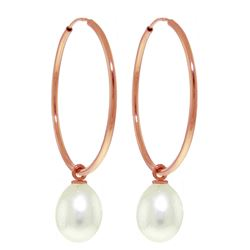ALARRI 14K Solid Rose Gold Hoop Earrings w/ Natural Pearls