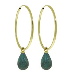 ALARRI 6.6 Carat 14K Solid Gold Hoop Earrings Natural Emerald