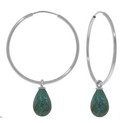 ALARRI 6.6 Carat 14K Solid White Gold Hoop Earrings Natural Emerald