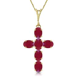 ALARRI 1.5 Carat 14K Solid Gold Cross Necklace Natural Ruby