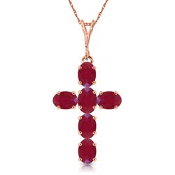 ALARRI 1.5 Carat 14K Solid Rose Gold Cross Necklace Natural Ruby