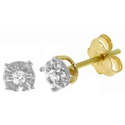 ALARRI 0.06 Carat 14K Solid Gold Illusion Settings Stud Earrings Diamond