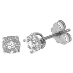 ALARRI 0.06 Carat 14K Solid White Gold Illusion Settings Stud Earrings Diamond
