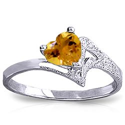 ALARRI 0.95 CTW 14K Solid White Gold Show My Support Citrine Ring