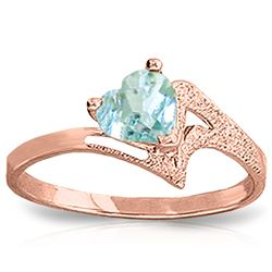 ALARRI 0.95 Carat 14K Solid Rose Gold Ring Natural Aquamarine