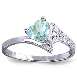 ALARRI 0.95 Carat 14K Solid White Gold White Dove Aquamarine Ring