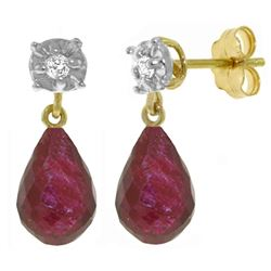 ALARRI 17.66 Carat 14K Solid Gold Stud Earrings Diamond Ruby
