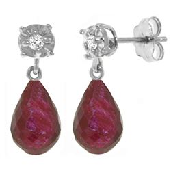 ALARRI 17.66 Carat 14K Solid White Gold Stud Earrings Diamond Ruby