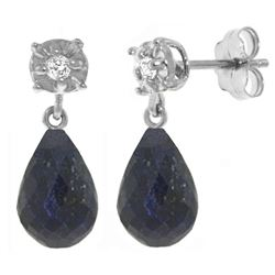 ALARRI 17.66 CTW 14K Solid White Gold Stud Earrings Diamond Sapphire