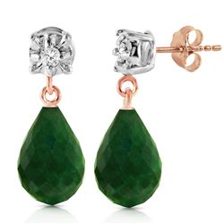 ALARRI 14K Solid Rose Gold Stud Earrings w/ Diamonds & Emeralds